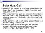 solar heat gain