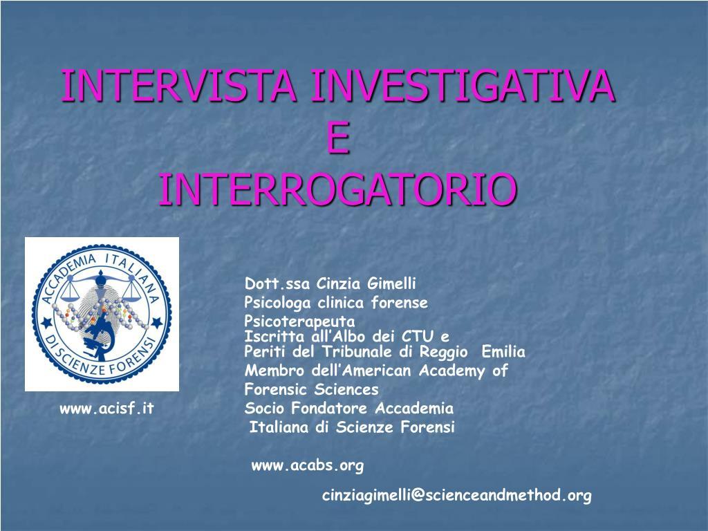 intervista investigativa e interrogatorio l.