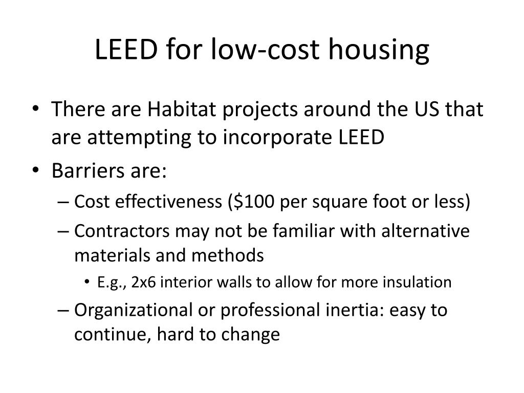 LEED for low-cost housing