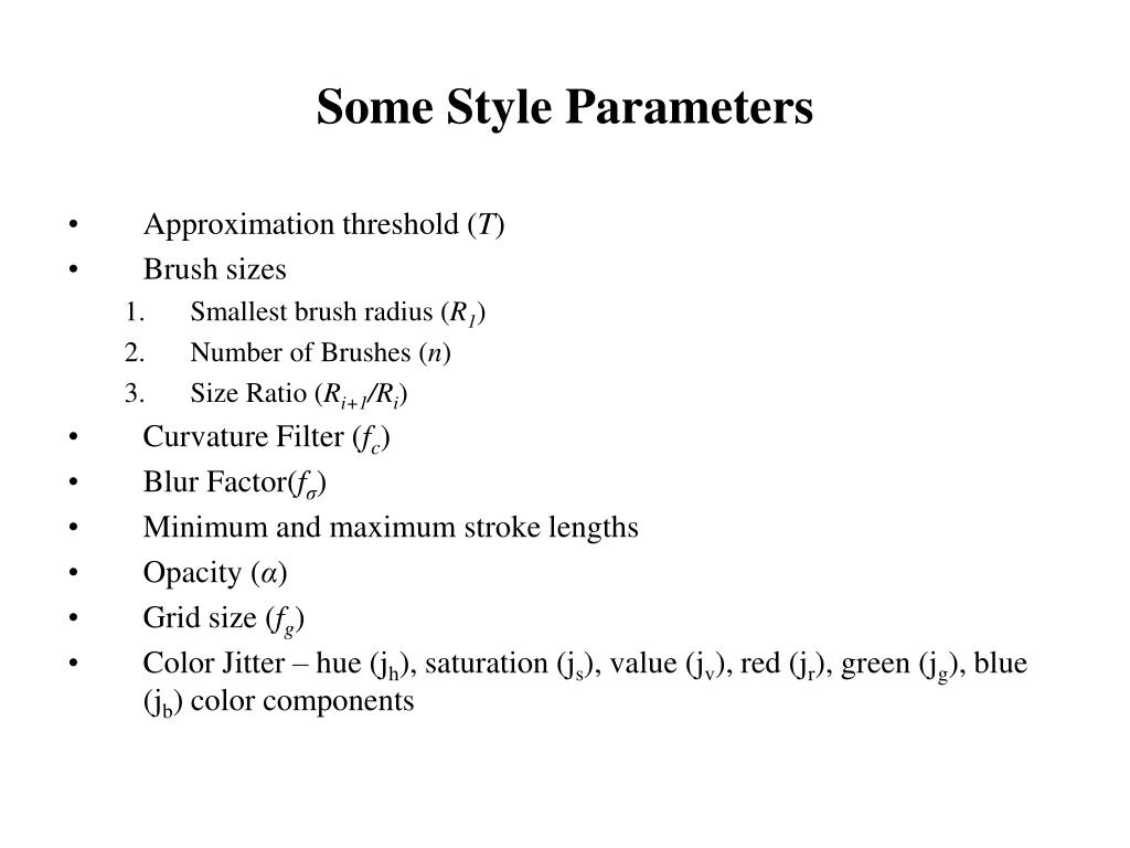 Some Style Parameters
