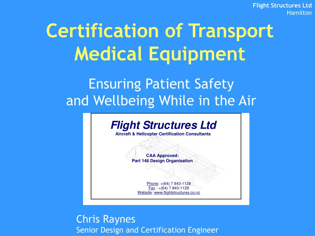 certification of transport medical equipment l.