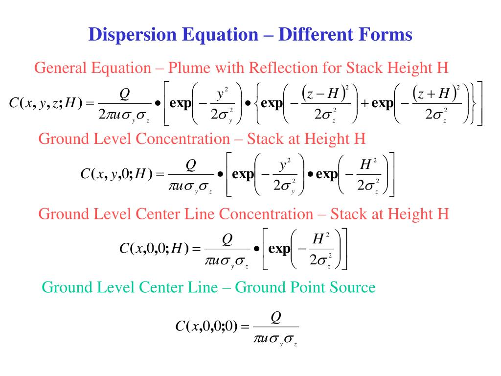 dispersion equation different forms l.