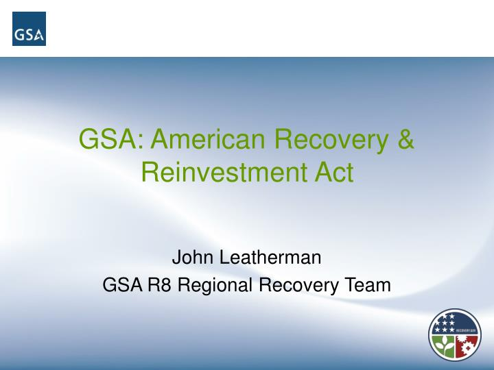 Gsa american recovery reinvestment act