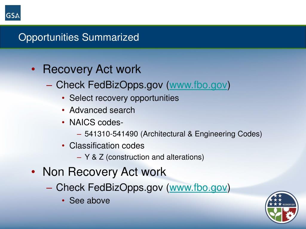 Opportunities Summarized