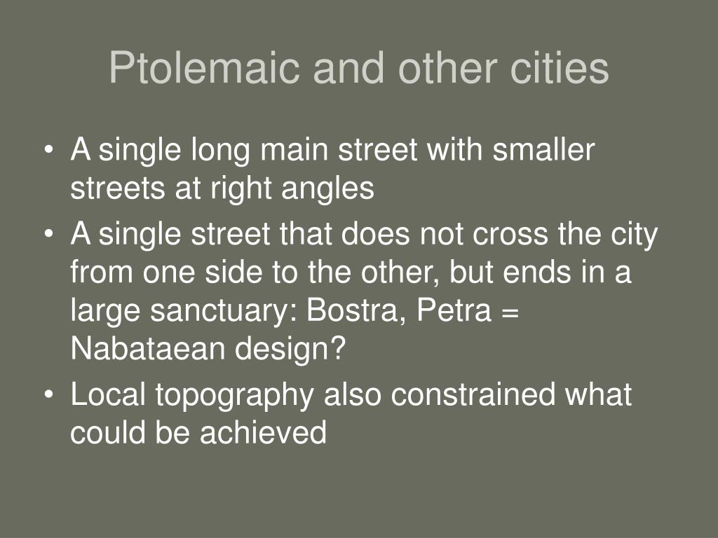 Ptolemaic and other cities