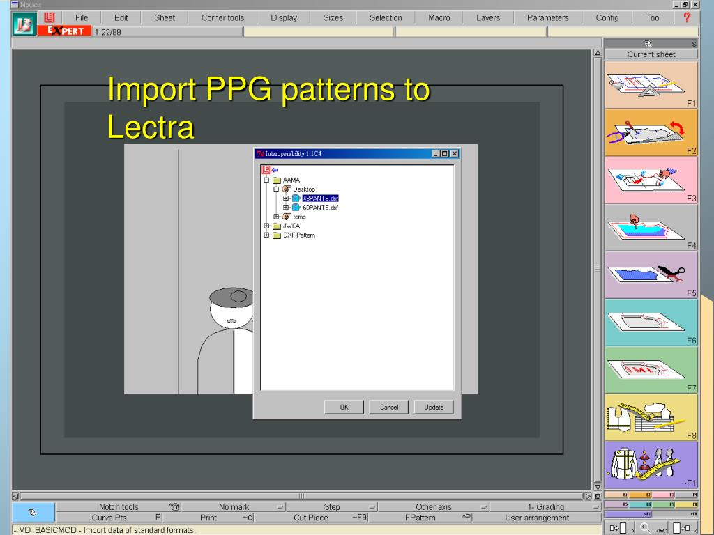 Import PPG patterns to Lectra
