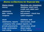 atoms vs electrons for financial bits