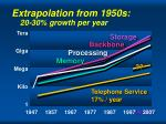extrapolation from 1950s 20 30 growth per year