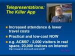 telepresentations the killer app