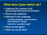 what does cyber admin do