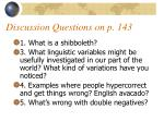 discussion questions on p 143