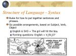 structure of language syntax