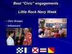 best civic engagements little rock navy week