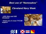 best use of namesakes cleveland navy week