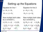 setting up the equations