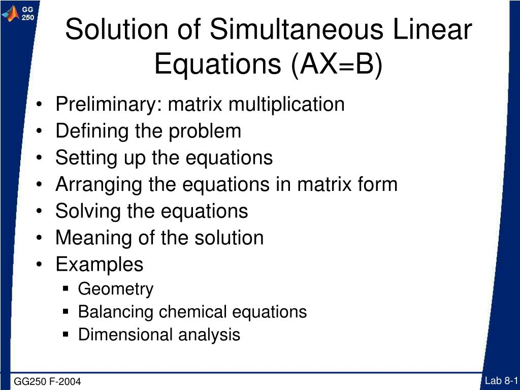 solution of simultaneous linear equations ax b l.