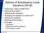 solution of simultaneous linear equations ax b