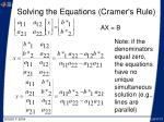 solving the equations cramer s rule