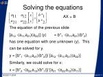 solving the equations11