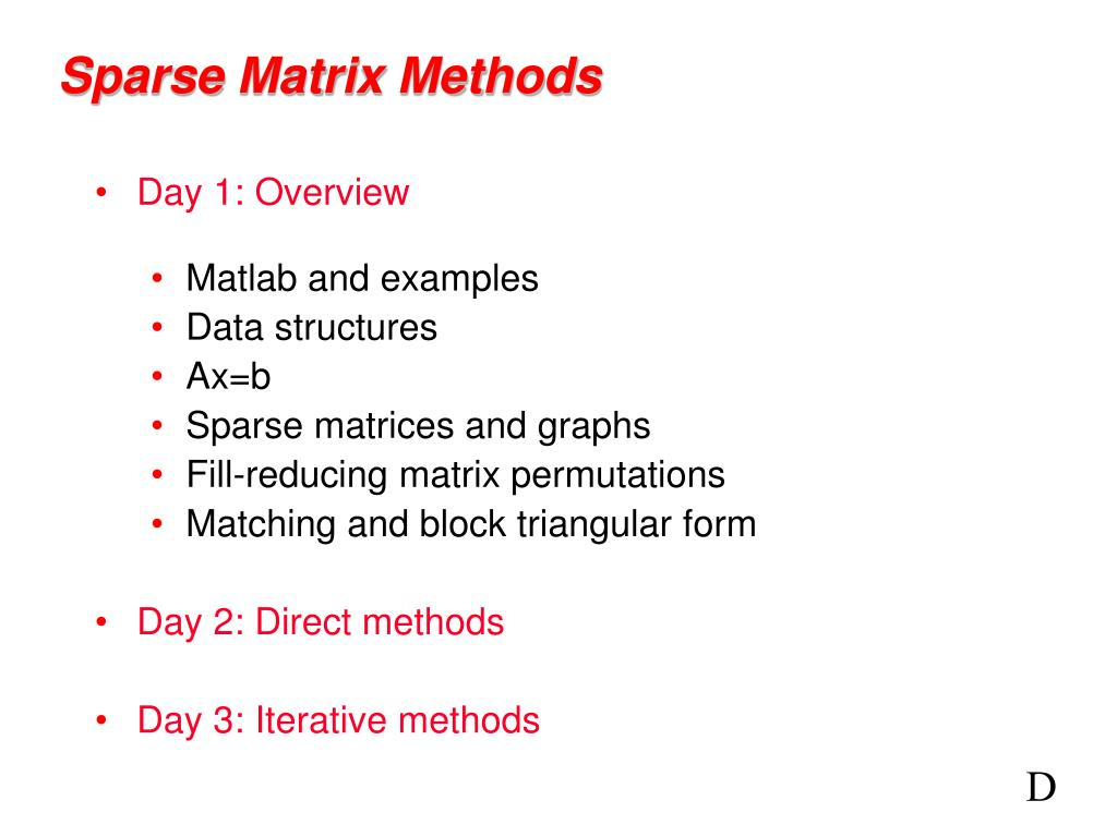 sparse matrix methods l.
