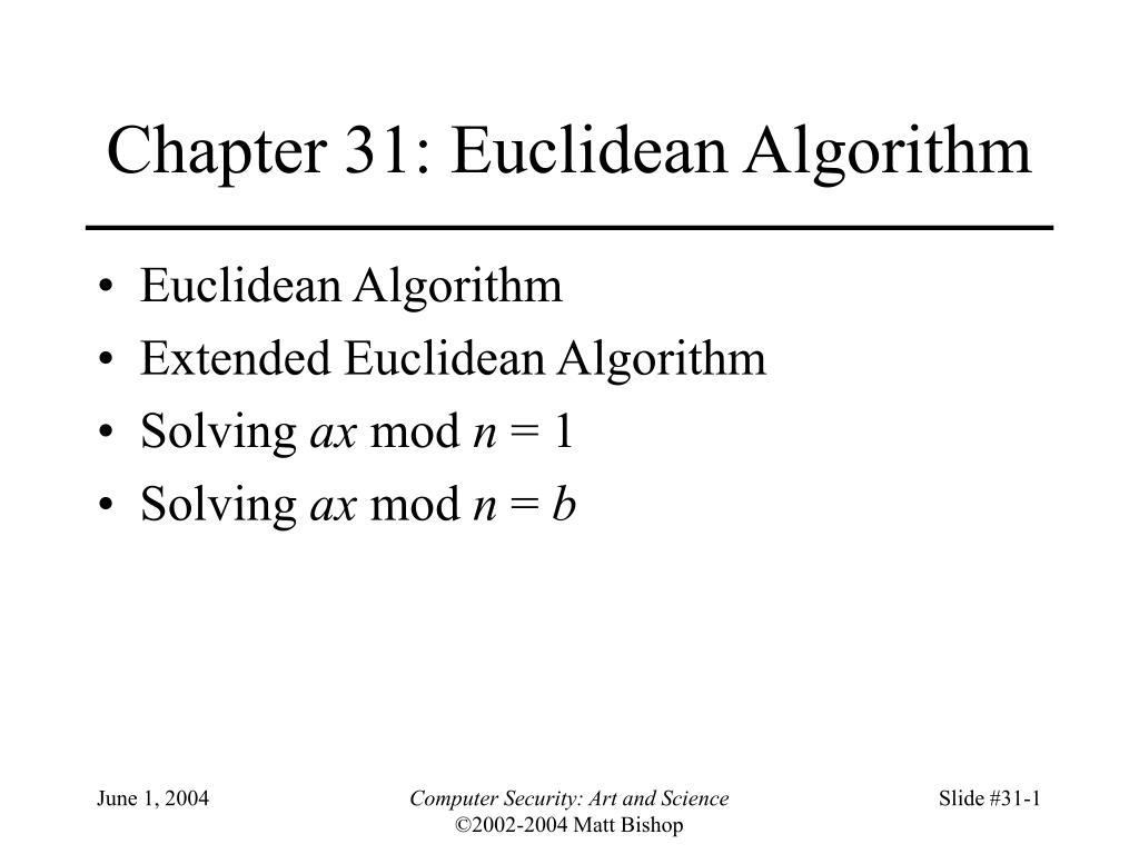 chapter 31 euclidean algorithm l.