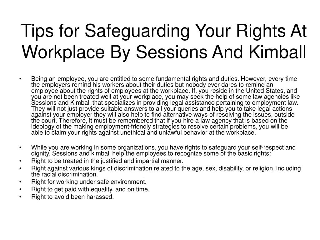 tips for safeguarding your rights at workplace by sessions and kimball l.
