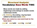 structural analysis vocabulary base words t49c