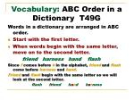 vocabulary abc order in a dictionary t49g