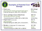 examples of potential cost savings