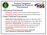 product categories designated for preferred procurement