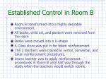 established control in room b