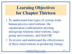 learning objectives for chapter thirteen