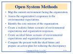 open system methods
