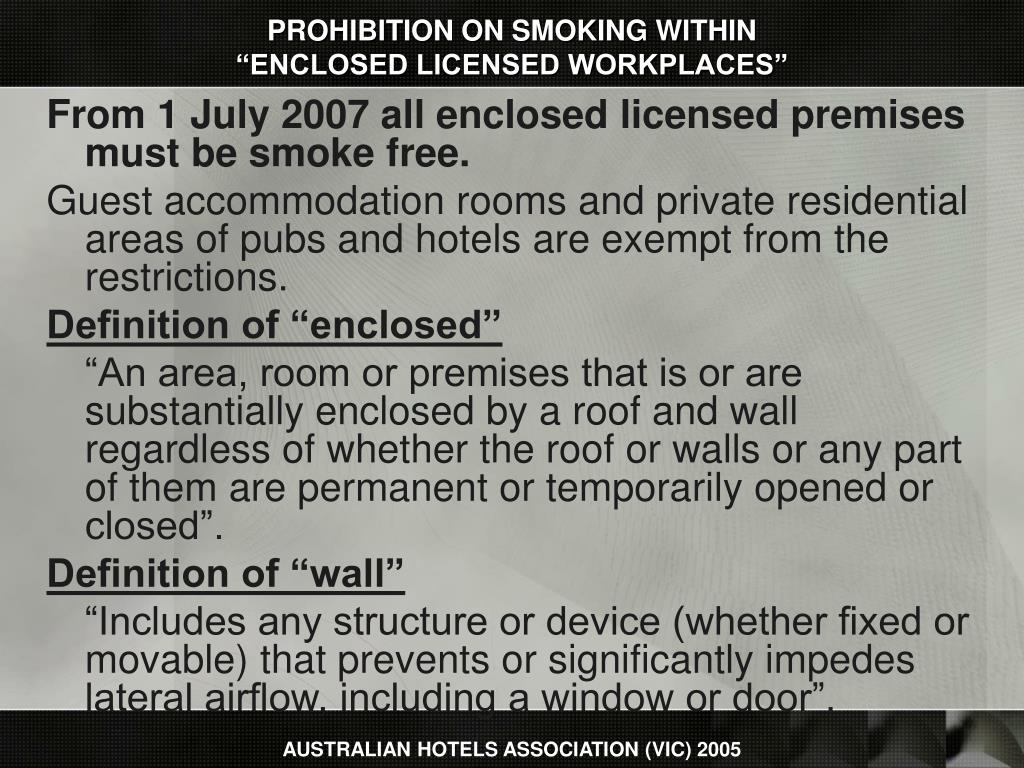PROHIBITION ON SMOKING WITHIN