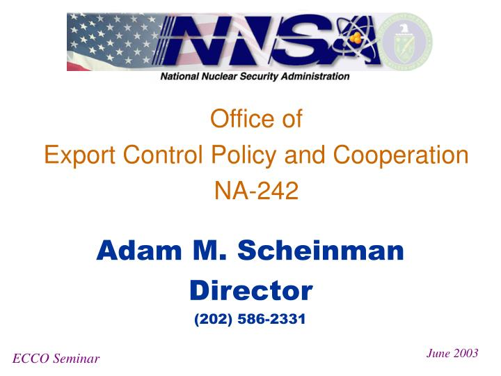 office of export control policy and cooperation na 242 n.