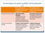 governance in post conflict environments