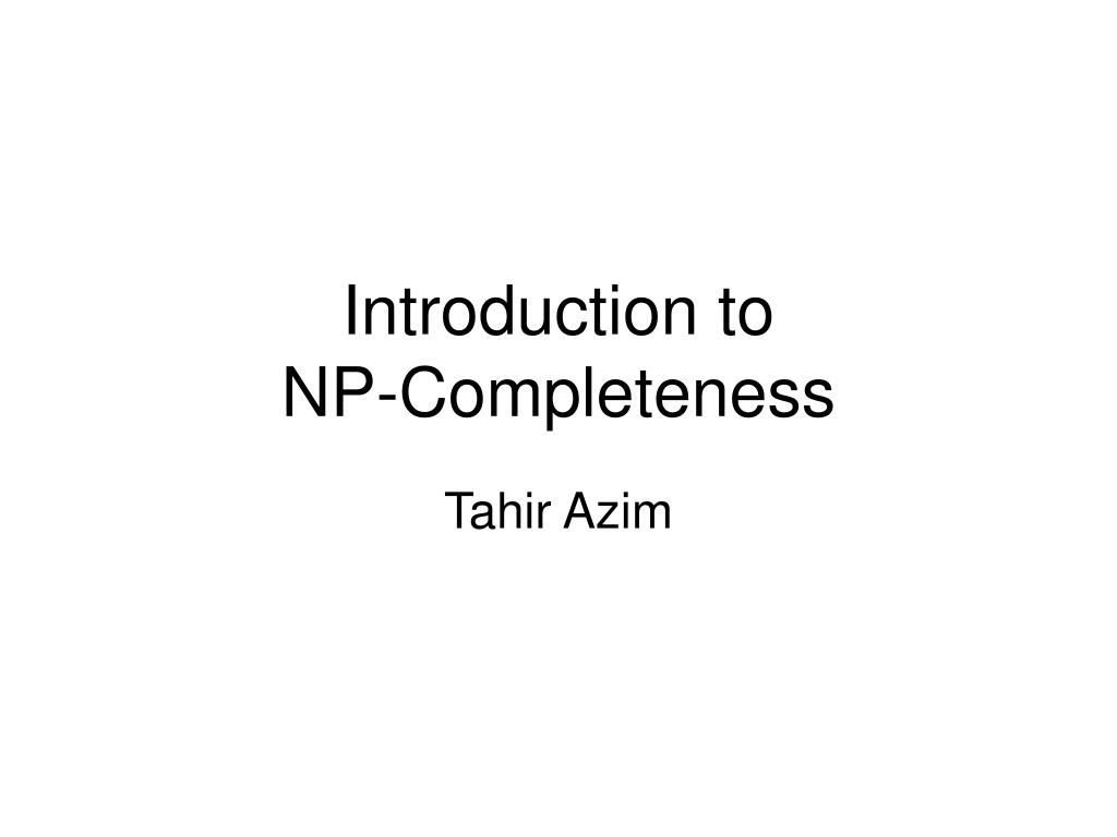 introduction to np completeness l.