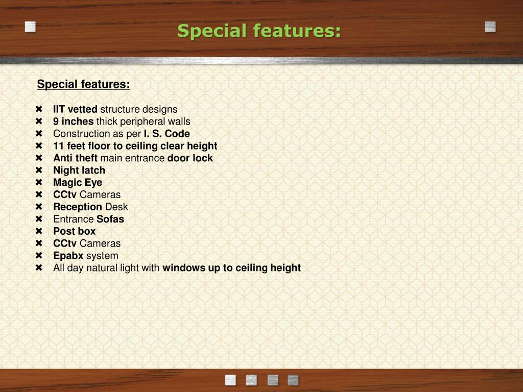 Special features: