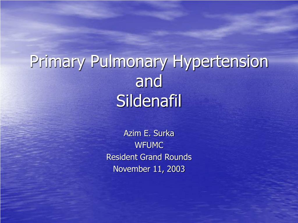primary pulmonary hypertension and sildenafil l.