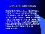 challan creation