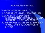 key benefits mca 216