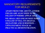 mandatory requirements for mca 2148