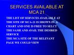 services available at mca 21