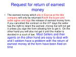 request for return of earnest money