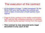 the execution of the contract