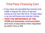 third party financing cont
