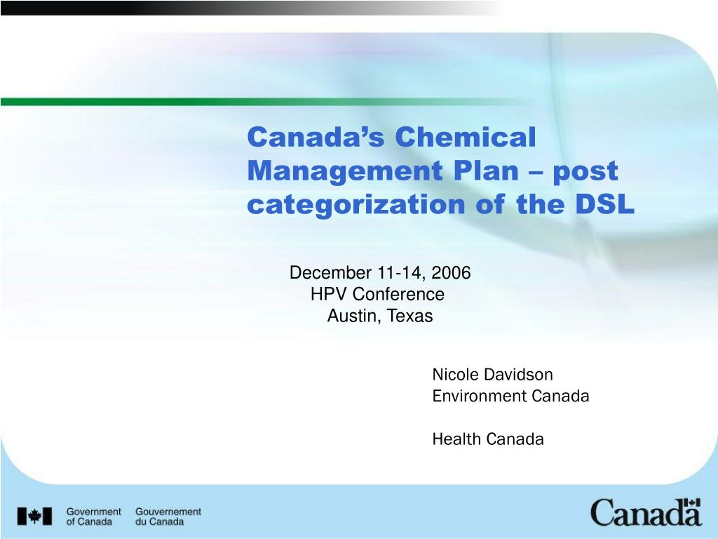 canada s chemical management plan post categorization of the dsl l.