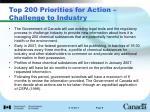 top 200 priorities for action challenge to industry