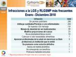 infracciones a la lgs y rlgsmp m s frecuentes enero diciembre 2010