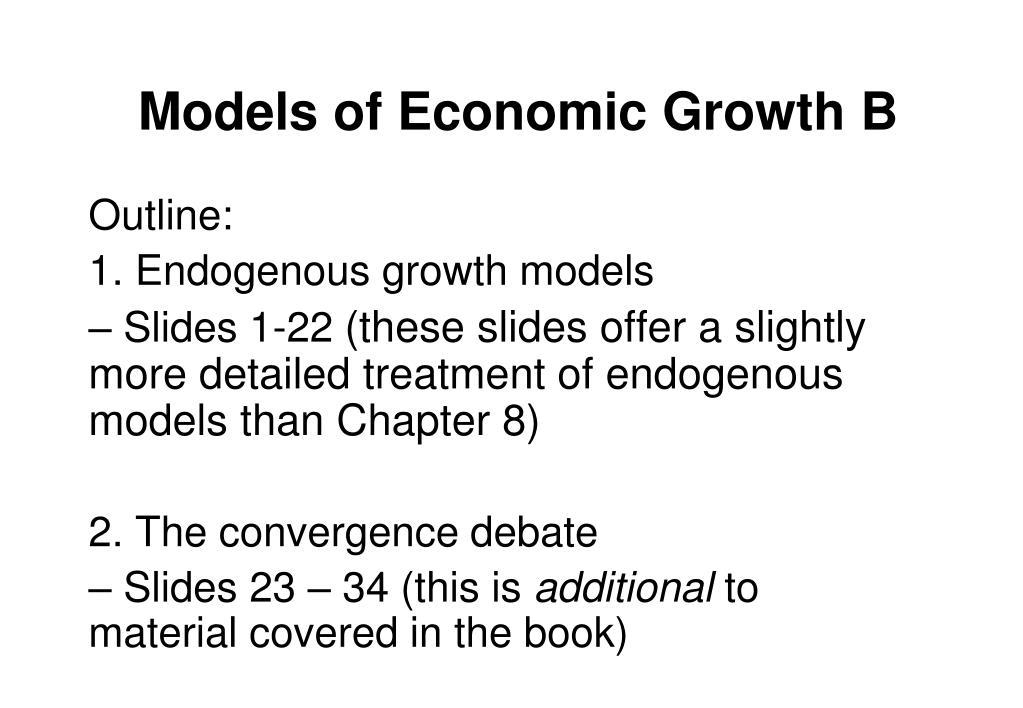 models of economic growth b l.